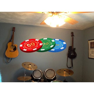 Full Color Casino Chips Full Color Decal, Casino Chips Full color sticker, wall art Sticker Decal size 22x35