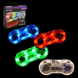 Retrolink Blue/ Red/ Green LED Wired SNES USB Controller With On-Off Switch and Dimmer for PC/ MAC