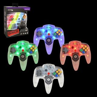 Retrolink Blue/ Red/ Green LED Wired N64 USB Controller With On-Off Switch and Dimmer for PC/ MAC