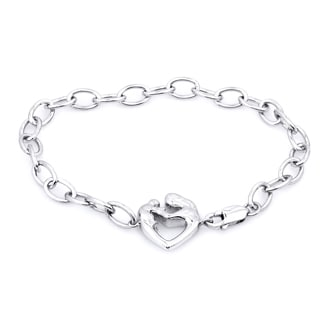Sterling Silver Diamond Accent Mom and Baby Bracelet
