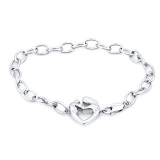 Sterling Silver Mom and Baby Diamond Accent Bracelet