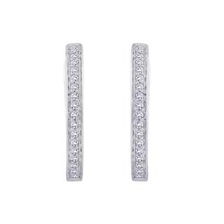 10K White Gold 1/6ct TDW White Diamond Hoop Earrings