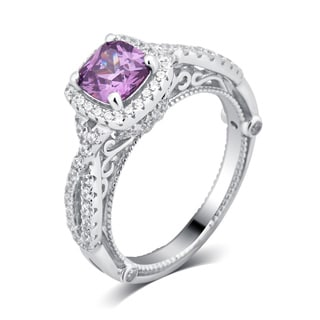 Divina Sterling Silver Created Amethyst and Cubic Zirconia Engagement Ring