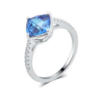Divina Sterling-silver 3.875-ct TDW Created Swiss Blue and Cubic Zirconia Engagement Ring.