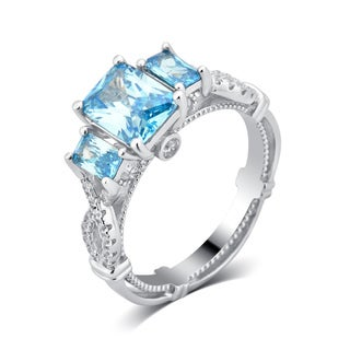 Divina Sterling Silver 4 1/10ct TDW Created Aqua and Cubic Zirconia Engagement Ring.