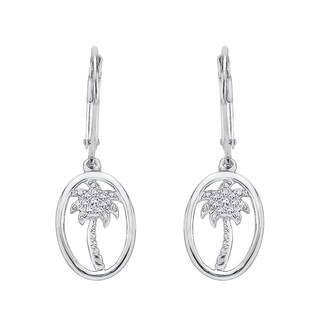 10K White Gold Palm Tree Diamond Dangle Earrings