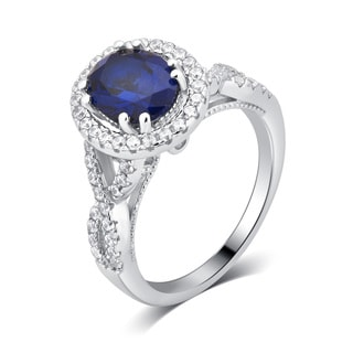 Divina Sterling Silver 7.0-carat Created Blue Sapphire and Cubic Zirconia Engagement Ring