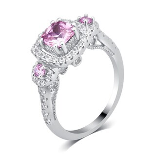 Divina Sterling Silver 2 3/4-carat TDW Pink and White Cubic Zirconia Engagement Ring