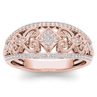 De Couer  IGI Certified 10k Rose Gold 1/5ct TDW Diamond Fashion  Ring - Pink