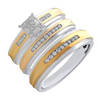 10k Yellow and White Gold 1/3ctTW Diamond Engagement and Wedding Ring Set
