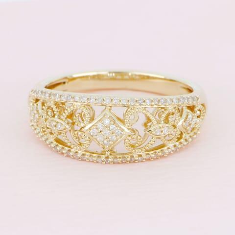 De Couer IGI Certified 10k Yellow Gold 1/5ct TDW Diamond Fashion Engagement Ring
