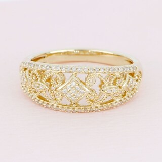 De Couer 10k Yellow Gold 1/5ct TDW Diamond Fashion Engagement Ring