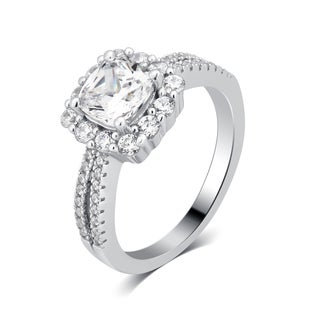 Divina Sterling Silver 3 1/2-carat TDW Cubic Zirconia Square Frame Engagement Ring