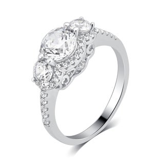 Divina Sterling Silver 3 3/8ct TDW Three Stone Cubic Zirconia Engagement Ring