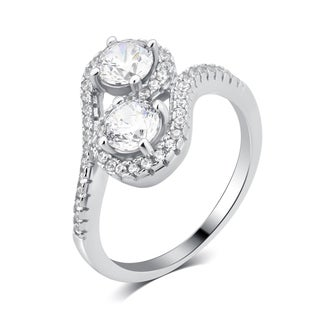 Divina Sterling Silver 2 1/4ct Cubic Zirconia Two Stone Engagement Ring