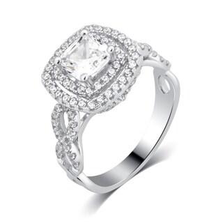 Divina Sterling Silver 2 3/4-carat TDW Cubic Zirconia Square Frame Cluster Ring