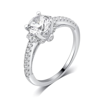Divina Sterling Silver 2 5/8-carat Cubic Zirconia Engagement Ring