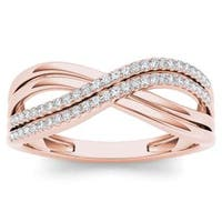 De Couer 10k Rose Gold 1/6ct TDW Diamond Fashion Ring - Pink