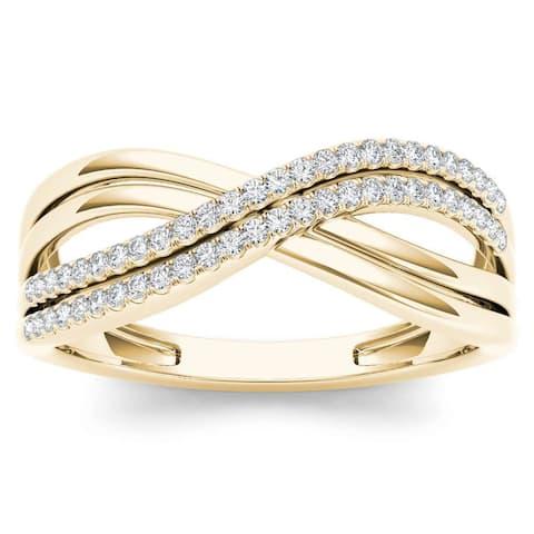 De Couer IGI Certified 10k Yellow Gold 1/6ct TDW Diamond Fashion Ring