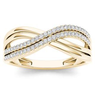 De Couer IGI Certified 10k Yellow Gold 1 6ct TDW Diamond Fashion Ring