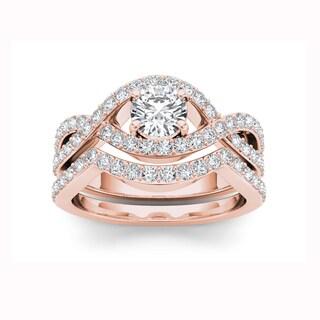 De Couer 14k Rose Gold 1 1/2ct TDW Diamond Criss-Cross Shank Bridal Ring - Pink