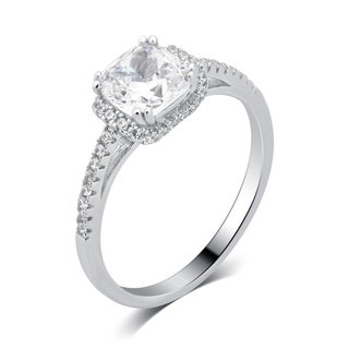 Divina Sterling Silver Cubic Zirconia Princess Shape Engagement Ring