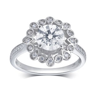 Divina Sterling-silver 1.5-ct TDW Cubic Zirconia Antique Flower Engagement Ring