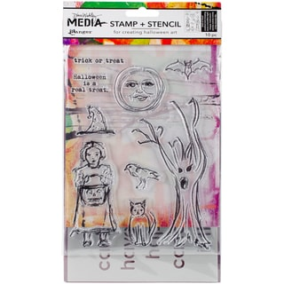Dina Wakley Media Clear Stamps & Stencil Set-Scribbly Trick Or Treat