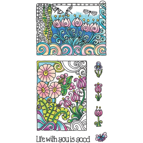 "Color Me Clear Stamps 4""X7.75""-Life"