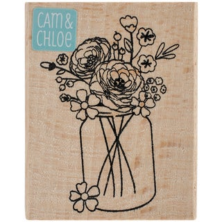 "Cam & Chloe Mounted Stamp 2.5""X2""-Mason Jar Bouquet"