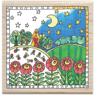 """Color Me Mounted Rubber Stamp 3.5""""X3.5""""-Garden"""
