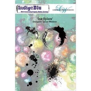 "IndigoBlu Cling Mounted Stamp 5""X8""-Ink Splats"