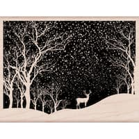 Hero Arts Mounted Rubber Stamp 4.25X3.25-Snowy Scene