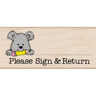 Hero Arts Mounted Rubber Stamp 1.5X1.75-Please Sign & Return Pup