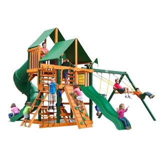 Gorilla Playsets Great Skye I Timber Shield and Deluxe Green Vinyl Canopy Playset