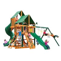 Gorilla Playsets Great Skye I Cedar Swing Set with Green Vinyl Canopy and Timber Shield Posts