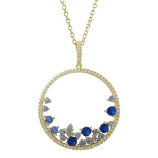 Luxiro Gold Finish Sterling Silver Lab-created Sapphire and Cubic Zirconia Circle Pendant Necklace