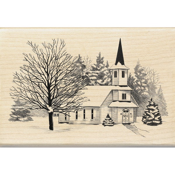 "Inkadinkado Mounted Rubber Stamp 2.75""X4""-Church In Snow"
