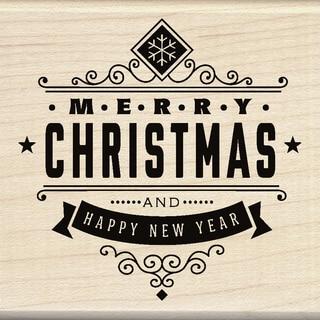 "Inkadinkado Mounted Rubber Stamp 3""X3""-Christmas Greetings"