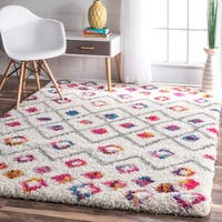 The Curated Nomad Ashbury Bohemian Trellis Diamond Shag Area Rug - 8' x 10'