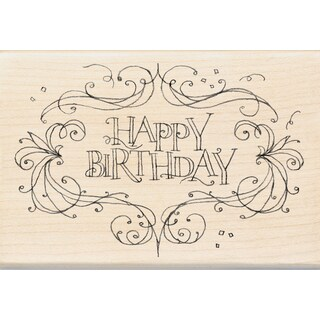 Inkadinkado Mounted Rubber Stamp 4X2.75-Happy Birthday Flourish Frame