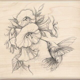 Inkadinkado Mounted Rubber Stamp 4.5X4.5-Hummingbird W/Flowers
