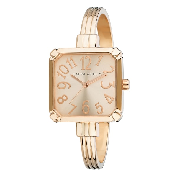 Laura Ashley Rose Gold Skinny Bangle Square Watch