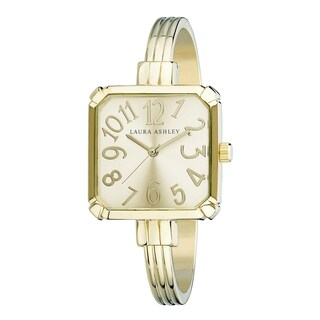 Laura Ashley Gold Stainless Steel Skinny Bangle Square Watch