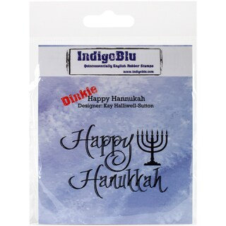 """IndigoBlu Cling Mounted Stamp 3""""X3""""-Happy Hannukah"""