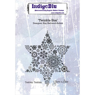 "IndigoBlu Cling Mounted Stamp 5""X4""-Twinkle Star"
