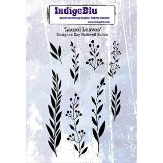 "IndigoBlu Cling Mounted Stamp 5""X4""-Laurel Leaves"