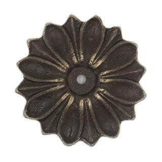 Antique Solid Metal Flower Shaped Decorative Back Plate Base - Pack of 6