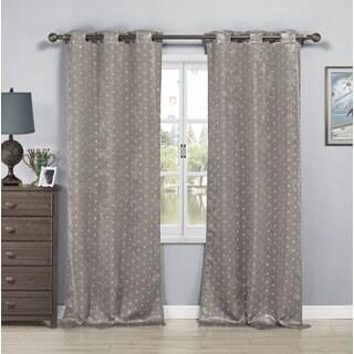 Ellie Kelvin Metallic Blackout Grommet Window Curtain Panel Pair