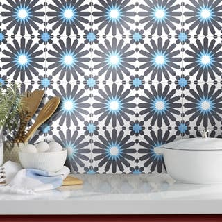 Alhambra in Black and Blue Handmade 8x8-in Moroccan Tiles